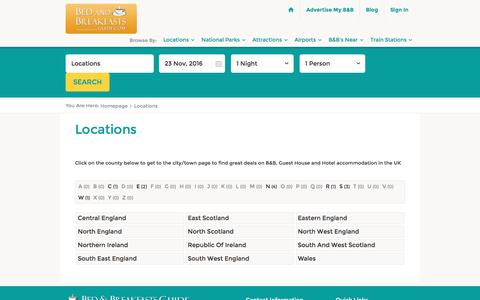 Screenshot of Locations Page bedandbreakfastsguide.com - Choose your search location and find the perfect B&B or hotel in the UK | Bed and Breakfasts Guide - captured Nov. 22, 2016