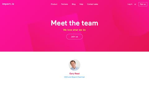 Screenshot of Team Page import.io - The Team at Import.io - captured March 30, 2016