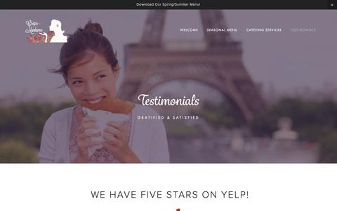 Screenshot of Testimonials Page crepe-madame.com - Testimonials — Crepe-Madame Catering - captured May 12, 2017