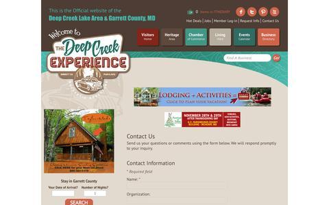 Screenshot of Contact Page visitdeepcreek.com - Contact Us - Deep Creek Lake Area Garrett County Chamber of Commerce - MN Contact - captured Oct. 26, 2014