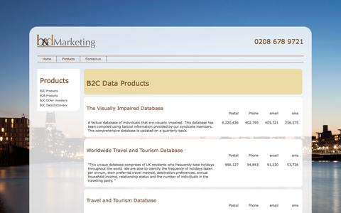 Screenshot of Products Page banddmarketing.com - B2C Products | Buy B2C Email Address Lists | Buy B2C Data Lists - captured Oct. 18, 2016