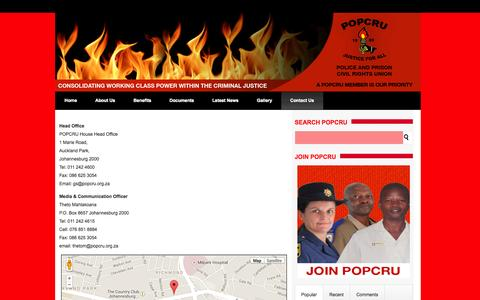 Screenshot of Contact Page popcru.org.za - Head Office   Police and Prisons Civil Rights Union - captured Oct. 3, 2014
