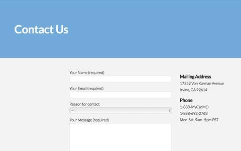 Screenshot of Contact Page carmd.com - Contact - CarMD - captured Aug. 30, 2016