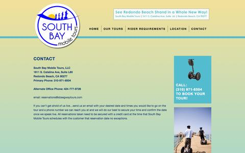 Screenshot of Contact Page sbsegwaytours.com - South Bay Mobile Tours | Segway Tours Los Angeles | Contact - captured Oct. 6, 2014