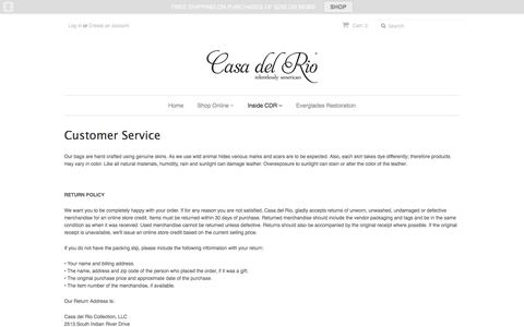 Screenshot of Support Page casadelriocollection.com - Customer Service – Casa del Rio Collection - captured Oct. 26, 2016