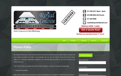 Screenshot of Privacy Page royalconcreteslabs.co.za - Privacy Policy | Royal Concrete - captured Oct. 1, 2014