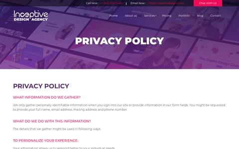Screenshot of Privacy Page inceptivedesigns.com - Privacy Policy | Inceptive Design Agency - captured Nov. 6, 2018