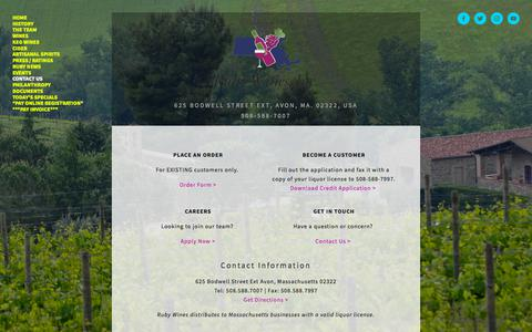 Screenshot of Contact Page rubywines.com - Contact Us — Ruby Wines, Inc. - captured July 15, 2019