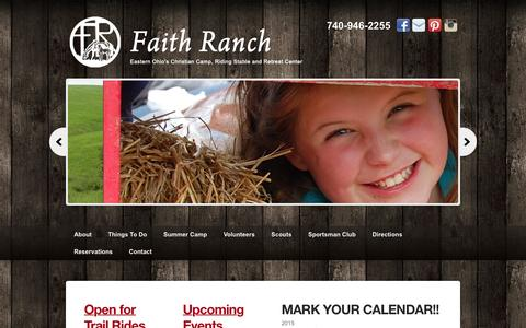 Screenshot of Home Page faithranch.org - Faith Ranch - Eastern Ohio's Christian Ranch Camp, Retreat Center, and Riding Stable - captured Sept. 20, 2015