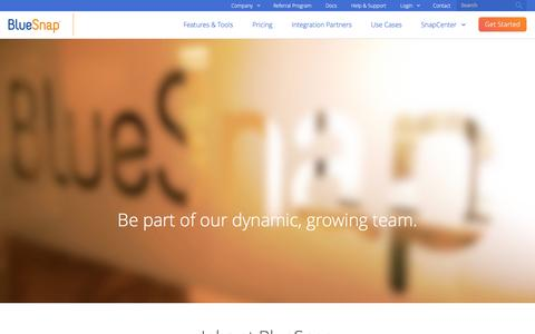 Screenshot of Jobs Page bluesnap.com - Jobs at BlueSnap   BlueSnap - captured Dec. 6, 2016