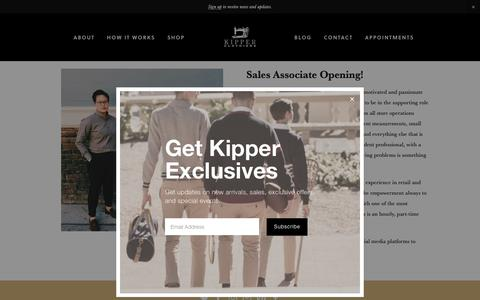 Screenshot of Jobs Page kipperclothiers.biz - Careers — Kipper Clothiers - captured Oct. 15, 2018