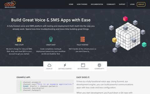 Screenshot of Developers Page corvisacloud.com - SMS API & Voice API - Build Powerful Communication Apps - captured Oct. 28, 2014