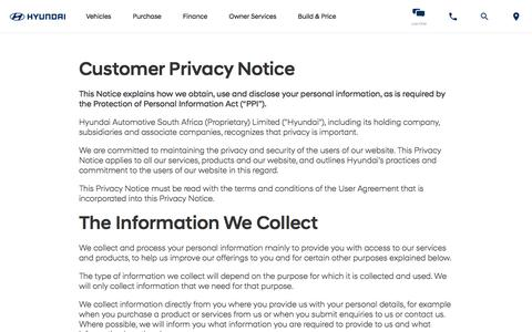 Screenshot of Privacy Page hyundai.co.za - Hyundai South Africa   Cars, Sedans, SUVs, and Compacts - captured July 6, 2018