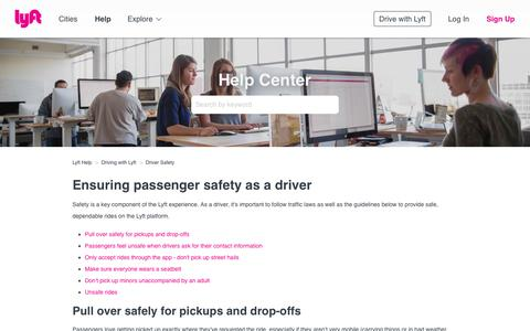 Screenshot of Support Page lyft.com - Ensuring passenger safety as a driver – Lyft Help - captured Nov. 26, 2018