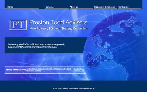 Screenshot of Home Page prestontoddadvisors.com - Home | Preston Todd Advisors | Business Growth Analysts - captured Sept. 30, 2014