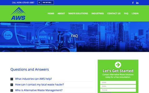 Screenshot of FAQ Page alternativewastesolutions.com - FAQ - Alternative Waste Solutions - captured July 10, 2018