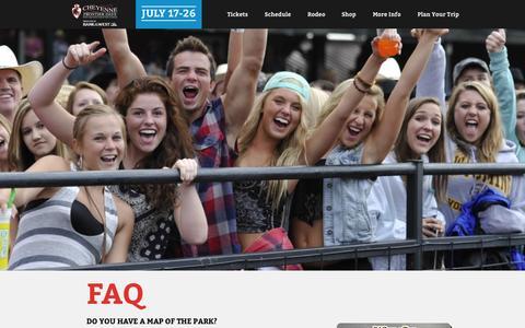 Screenshot of FAQ Page cfdrodeo.com - FAQ  |  Cheyenne Frontier Days - captured Sept. 24, 2014