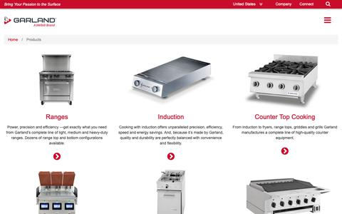 Screenshot of Products Page garland-group.com - Garland Group - Products - captured Nov. 11, 2018