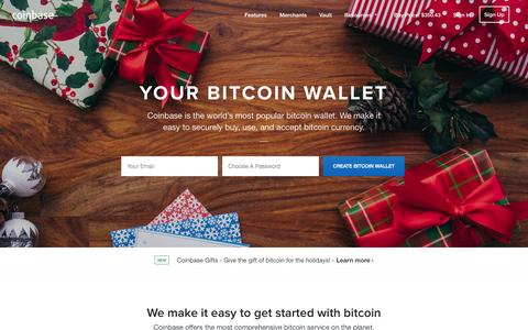 Screenshot of Home Page coinbase.com - Bitcoin Wallet - Coinbase - captured Dec. 13, 2014
