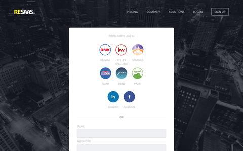 Screenshot of Login Page resaas.com - RESAAS | Log into RESAAS - captured May 9, 2017