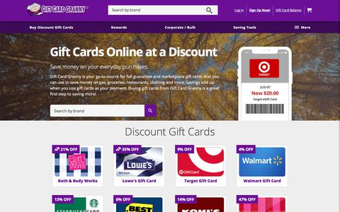 Screenshot of Home Page giftcardgranny.com - Gift Cards at a Discount – Bulk, eGift, Visa – GiftCardGranny® - captured Sept. 22, 2018