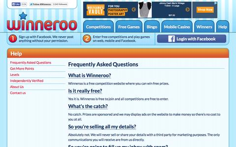 Screenshot of FAQ Page winneroo.co.uk - Frequently Asked Questions - captured Oct. 26, 2014