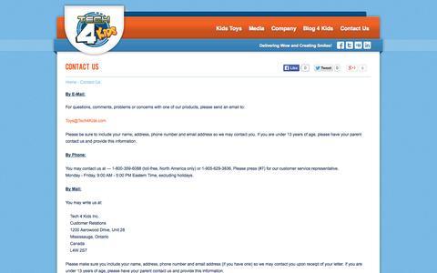 Screenshot of Contact Page tech4kids.com - Tech4Kids - Contact Us - captured Oct. 26, 2014