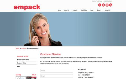 Screenshot of Support Page empack.ca - Empack - captured Nov. 2, 2014