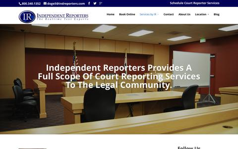 Screenshot of Services Page indreporters.com - Services by IR | Calgary & Edmonton Court Reporters - captured Jan. 24, 2016