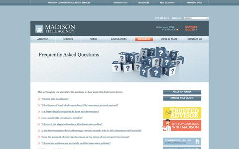 Screenshot of FAQ Page madisontitle.com captured Dec. 17, 2018
