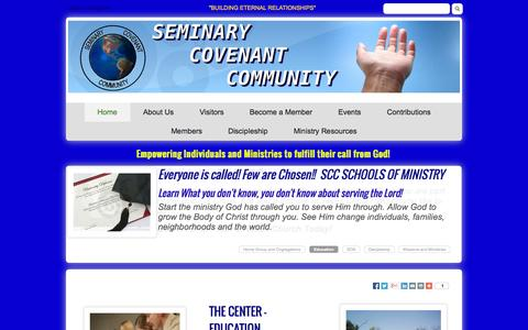 Screenshot of Home Page seminarycovenantcommunity.org - Home - captured Sept. 30, 2014