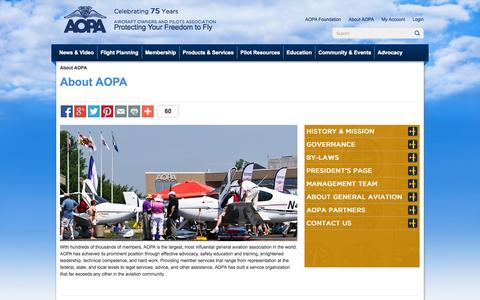 Screenshot of About Page aopa.org - About AOPA, start here for the who, what, when, where and why   - AOPA - captured Sept. 18, 2014