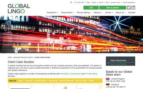 Screenshot of Case Studies Page global-lingo.com - Client Case Studies - Global LingoGlobal Lingo - captured July 13, 2018