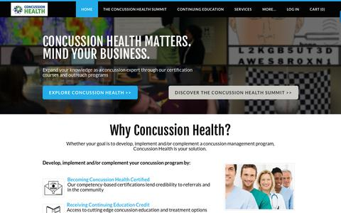 Screenshot of Home Page concussionhealth.com - Concussion Health - Home - captured May 20, 2017