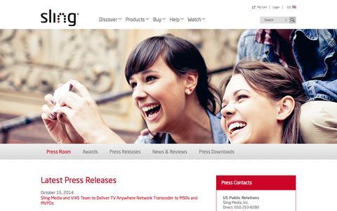 Screenshot of Press Page sling.com - Slingbox.com - Press Room - captured Oct. 22, 2014