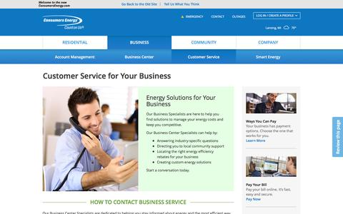 Screenshot of Support Page consumersenergy.com - Customer Service for Your Business | Consumers Energy - captured July 9, 2016