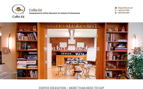 Screenshot of Home Page coffee-ed.com - Coffee Education for Coffee Business Professionals | Coffee Ed - captured March 3, 2016