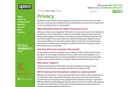 Screenshot of Privacy Page intelpackltd.com - Privacy ::  IPS - captured Oct. 6, 2014