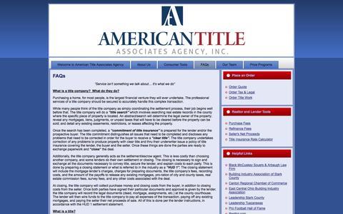Screenshot of FAQ Page amtitle.com - American Title Associates Agency: FAQs - captured Oct. 4, 2014