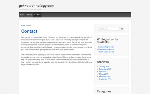 Screenshot of Contact Page gekkotechnology.com - Contact Our Homework Helper Services For Your Kids | gekkotechnology.com - captured Oct. 19, 2018