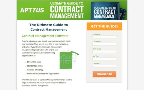 Screenshot of Landing Page apttus.com - The Ultimate Guide to Contract Management - captured Nov. 7, 2016