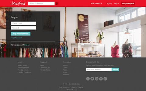Screenshot of Login Page thestorefront.com - Pop-Up Shops, Retail Space, Booths at Markets, Event Space for Rent - Storefront - captured Sept. 17, 2014