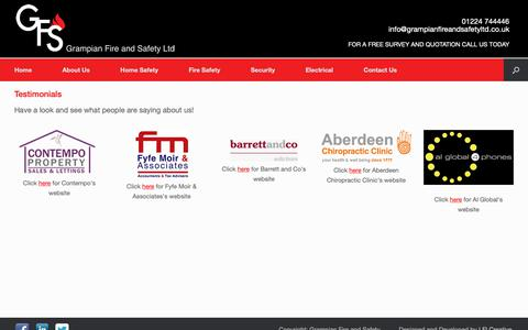 Screenshot of Testimonials Page grampianfireandsafetyltd.co.uk - Testimonials | Grampian Fire and Safety | Security, Electrical and Fire Safety in Aberdeen - captured Nov. 5, 2018