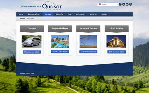 Screenshot of Services Page quasartravel.ro - Services - captured Oct. 3, 2014