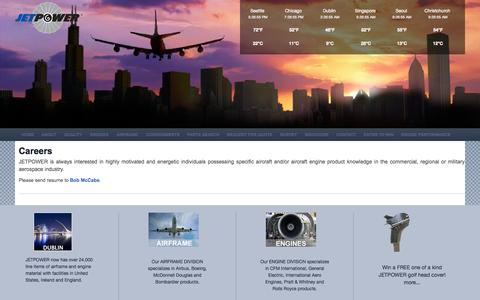 Screenshot of Jobs Page jetpower.aero - Careers   Jet Engine & Aircraft Parts JETPOWER, Inc. Supplies The World With Quality Used Aircraft Parts - captured Oct. 4, 2014