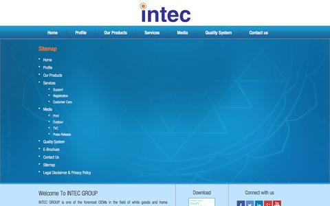 Screenshot of Site Map Page intec.co.in - Sitemap - captured Sept. 18, 2014