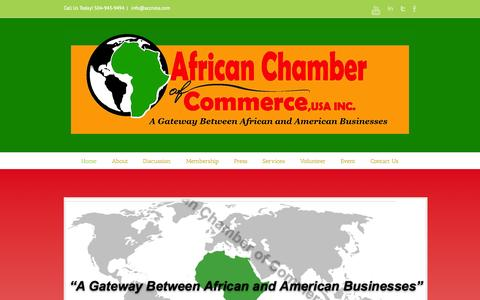 Screenshot of Home Page accnola.com - African Chamber of Commerce And Industry - captured Oct. 4, 2014