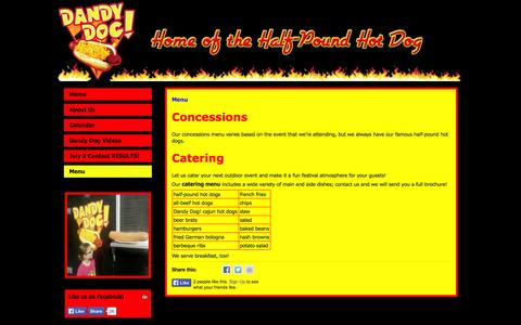 Screenshot of Menu Page dandydogohio.com - Menu | Dandy Dog! - captured Oct. 5, 2014