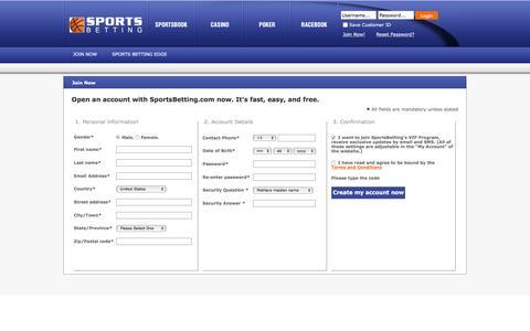 Screenshot of Signup Page sportsbetting.com - SportsBetting.com| Online Sports Betting and Sportsbook - captured Dec. 3, 2016