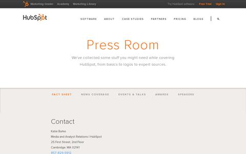 Screenshot of Press Page hubspot.com - Press Room - captured July 18, 2014